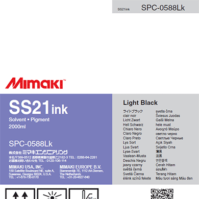 SPC-0588LK SS21 Solvent ink pack Light Black