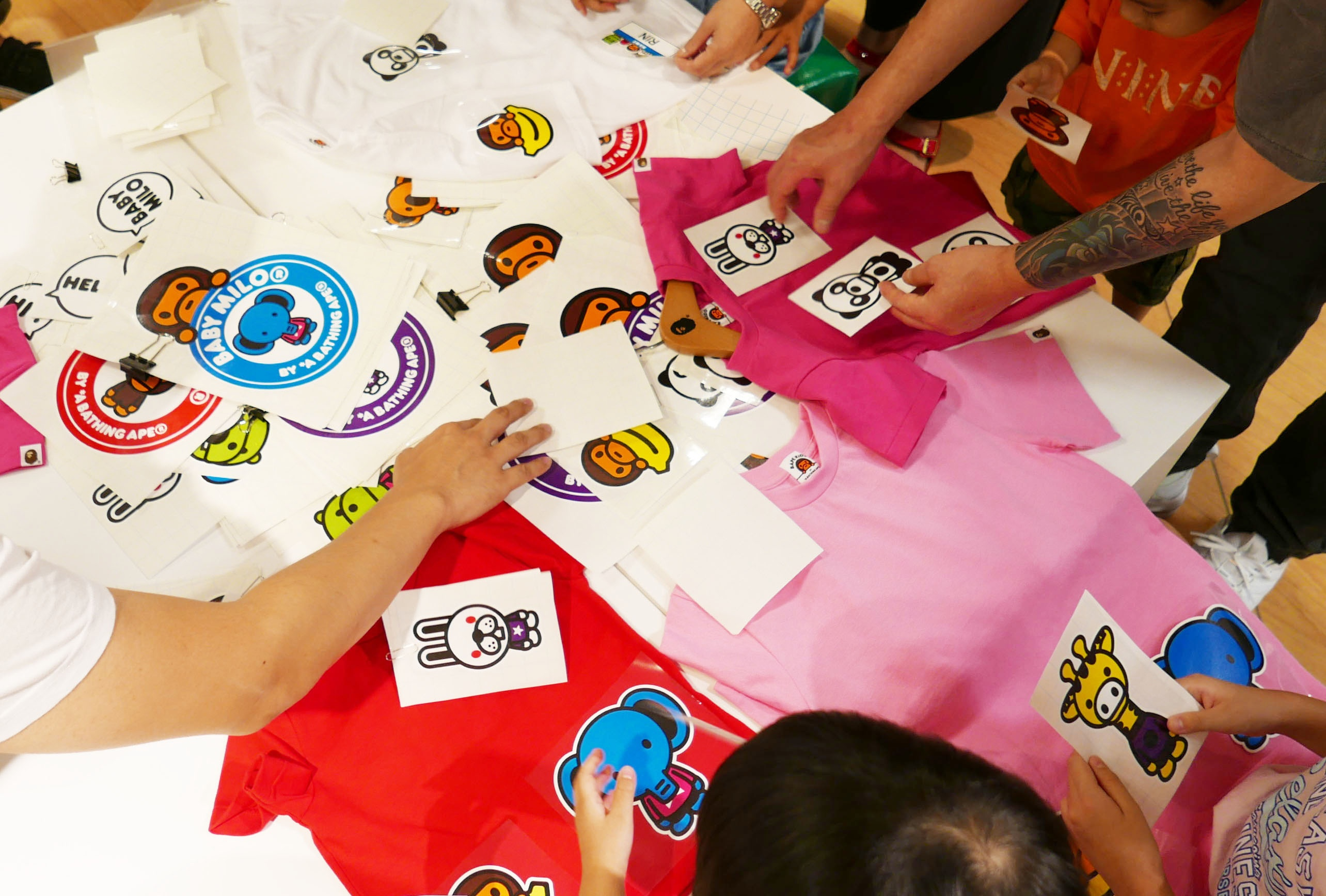 "Mimaki sponsored ""BAPE KIDS® Custom T-shirt Workshop"" at 6th floor of children's clothing floor of Seibu Ikebukuro Department store head office."