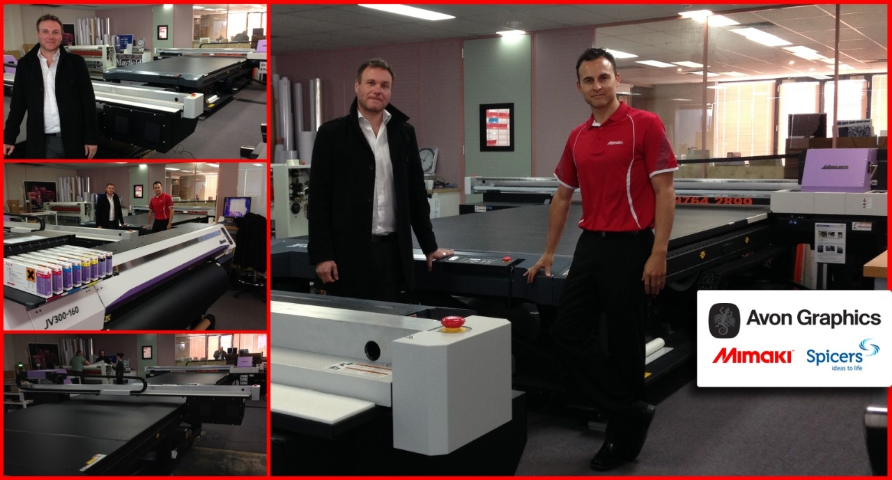 Tate Hone (Avon Graphics GM - left) Brad Creighton (National Marketing Manager - Mimaki Australia right) Mimaki Fleet of Printers: 7 x JFX500-2131, 5 x JV300-160, 1 x JFX200-2513, 1 x TS300P-1800